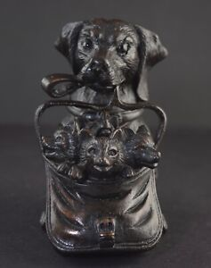 Rare Black Forest Carved Dog Inkwell with Satchel of Fox Cubs Signed Dated 1887