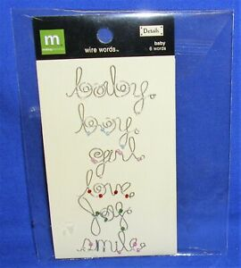 Making Memories Embellishments Wire Words Baby Boy Girl NIP Free Ship Over $15