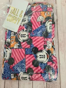 NWT LuLaRoe TC Disney Leggings Geometric Mickey Mouse Pink Blue Orange