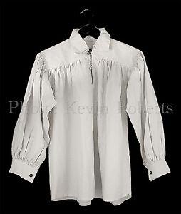Medieval Shirt Full Sleeves, Collar, Wood Buttons, Re-enactor Ren Fair 4 Sizes