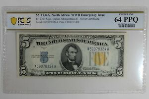 1934A $5 PCGS  CU64PPQ  NORTH AFRICA WWII EMERGENCY ISSUE SILVER CERTIFICATE