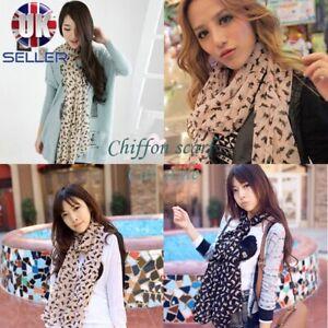 Sexy Lady Women Cat Pattern Beauty Chiffon Long Scarf Fashion Shawl Wrap Stole