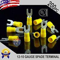 200 Pack 12-10 Gauge Vinyl Spade Fork Crimp Terminals #8 Stud Tin Copper Core UL