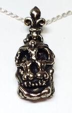 Salvador Dali Silver Skull Pendant