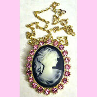 Vintage Pink Cameo Rhinestone Necklace Black Gold Carved Victorian Woman Gift