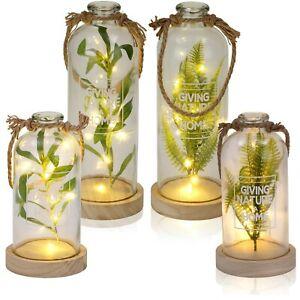 "BRUBAKER Hanging LED Glass Bottle Lights Fern or Olive Home Decor Gift 9"" or 12"""