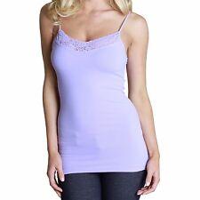 c48c1e4ef11a36 Nikibiki Womens Camisole Lavender Cami Seamless Top Lilac Lace V Neck OS  Juniors