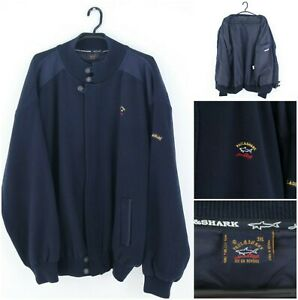 PAUL & SHARK Yachting Vintage Mens Blue Pure New Wool Bomber Jacket SIZE 3XL