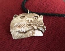 ROMANIAN HAND CARVED OTTER PENDANT, CARVED OUT OF DEER ANTLER