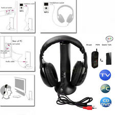 Black Wireless Headphone FM Hi-Fi Earphone for TV Stereo MP3 MP4 PC CD DVD PC xp