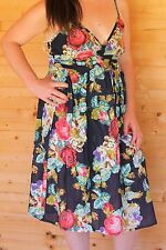M & S Size 14 Summer Dress/Beach Dress 100% Cotton Floral Blue Store price £25