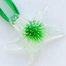 Green Flower Starfish Handmade Lampwork Glass Murano Pendant Wax Ribbon Necklace