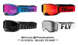 Fly Racing Zone Pro Goggles Tinted Lens w Extra Clear Lens Offroad Motocross ATV