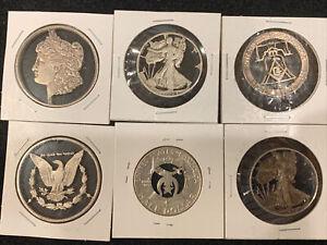 6 Pc Lot Cutout Silver Coins