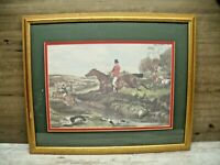 FOX HUNT HORSE AND DOGS FRAMED MATTED LARGE PRINT ART