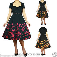 RK96 Floral Printed 50s Rockabilly Swing Dress Flared Vintage Pin Up Swing Dance