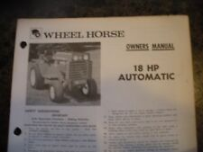 wheel horse tractor OWNERS MANUAL 18HP A5326 7-72 dealer manual