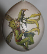 gourd Easter egg or garden marker with fairy / sprite and beans