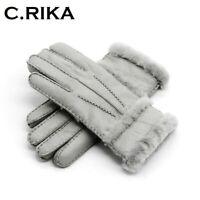 100% pure sheepskin Winter Gloves Women mitten Leather Genuine Finger Full