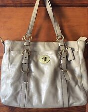 Coach Chelsea Taupe Patent Leather Tote Satchel Bag F14022