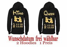 King Queen Hoodie Pullover Partner Look 2 Stück Verschiedene Farben XS - 5XL