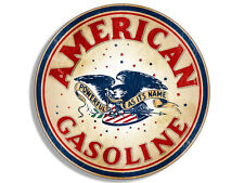 4x4 inch Round Vintage AMERICAN GASOLINE Logo Sticker - gas sign decal rat rod