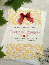 "Large Handmade Personalised Gold Congratulations Wedding Card ""Damask"""