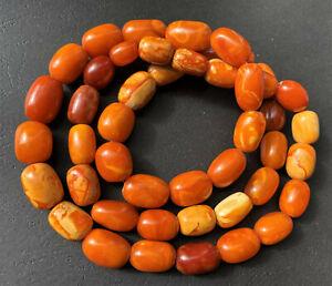 Antique Natural Butterscotch Egg Yolk Baltic Amber Beads Necklace 81.5g.