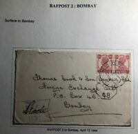 1944 India RAFPOST 3 censored Cover To Foreign Exchange Dept Bombay