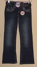 SO 5 Pocket Rainbown  Rhinestone with Belt Bootcut  Adjustable Waist Jeans SZ 7