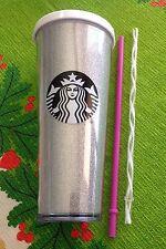 2016 Holiday Starbucks White Glitter Venti 24 oz Cold Cup White & Pink Straws!!!