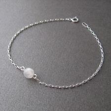 Bracelet fin perle pierre de lune et argent 925 BR177l