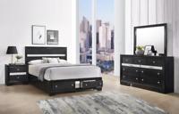 NEW Black Silver Storage Queen King 4PC Bedroom Set Modern Furniture - Bed/D/M/N