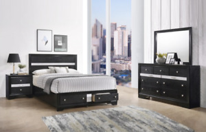 NEW Black Silver Storage Queen King 4PC Bedroom Set Modern Furniture - Bed/D/M/N
