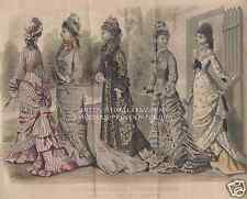 June-High Fashion Dresses-1878 OLD ANTIQUE VINTAGE COLOR ART PRINT-Victorian Era