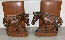 "Wooden Carved Zebra Pair Bookends Black Brown Solid Hand Crafted 6"" Tall X 5""L K"