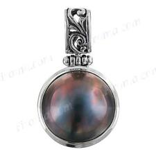 "1 1/8"" BLUE MABE PEARL 925 STERLING SILVER pendant"