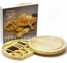 5 Pcs Wooden Cheese Cutting Board Tool Set Serving Knives Fork Shaver Spreader