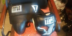 TITLE Boxing Sculpted Thermo Foam Groin Protector- Size -M And Head Gear Size M
