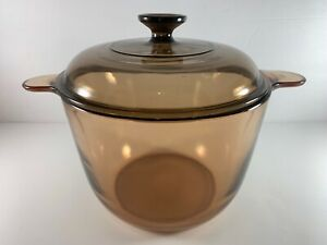 VISIONS Corning Ware 3.5L Amber Stock Pot Dutch Oven w/ Pyrex V-2.5-C Lid France