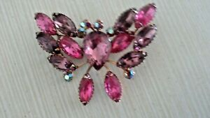 Large Pink Shades Brooch Butterfly Crystal Rhinestone Pin Gold Tone