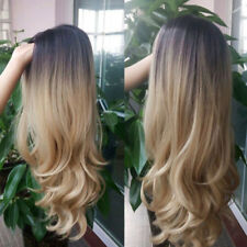 Full Women Fashion Brown Blonde Long Wigs Natural Curl Straight Wavy Wig