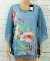 Klass Blue patterned top, with batwing sleeves Size L C320