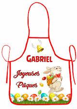 tablier de cuisine garçon joyeuses pâques  personnalisable avec prénom réf 42