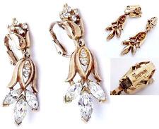 Splendidi ORECCHINI TRIFARI Crown Pat Pend cm.4,5 ORIGINALI Anni '50 e INTEGRI