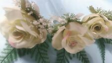 Set of 3 Pale Green Rose Heather & Fern Wedding Buttonhole & Ivory Satin Ribbon