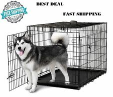 "Dog Crate Kennel 48"" Folding Metal Cage Extra Large 2 Metal Doors ABS Tray XXXL"