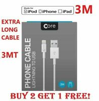 3M Charger cable for Apple iPhone 5 6 7 8 X iPad Lightning USB Data Lead CORE