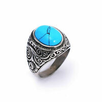 316L Stainless Steel Fashion Men's Stone Finger Rings Male Cool Titanium Jewelry