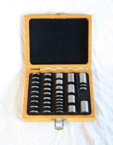 Vintage Herson 36 pc Machinist Space Block Set w/ Wood Case - Nice Condition